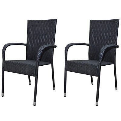 New Rattan Garden Furniture Dinner Chair Set Dining Chairs 2 pcs Black Durable
