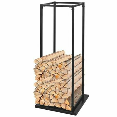 Firewood Rack with Base Log Fireplace Stand Holder Storage Support Steel Tall