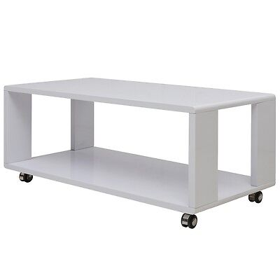 High Gloss Coffee Table End w/ 4 Castors 2 Brakes White Living Room Home Decor