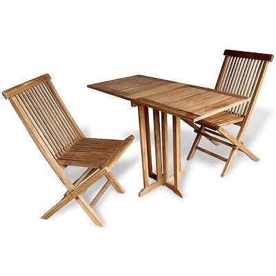 Teak 3 Piece Wood Wooden Balcony Folding Table Chair Set Patio Outdoor Furniture