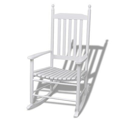New Wood Rocking Chair White Curved Slat Seat Armrest Garden Patio Indoor Rocker