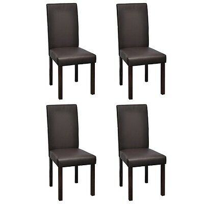 New 4 pcs Artificial Leather Wood Brown Dining Chair 43 x 40 x 95 cm (W x D x H)