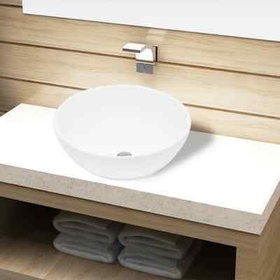 Ceramic Bathroom Sink Vessel Basin White Round Washroom Kitchen Powder Room