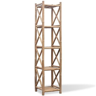 5-Tier Square Bamboo Standing Shelf Storage Bookcase Display Unit Organizer