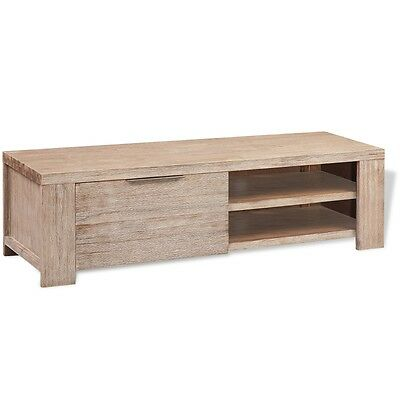 TV Cabinet Stand Shelf Solid Brushed Acacia Wood 140 cm Retro Rustic Furniture