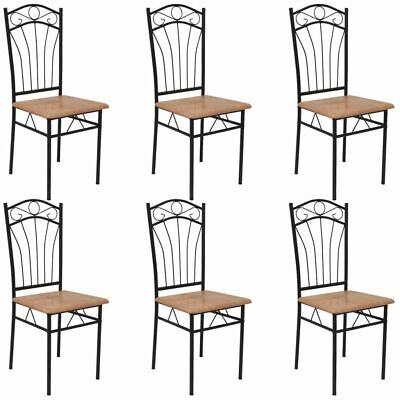 6 Dining Chairs Steel Frame Modern Home Kitchen Living Room Furniture Brown Seat