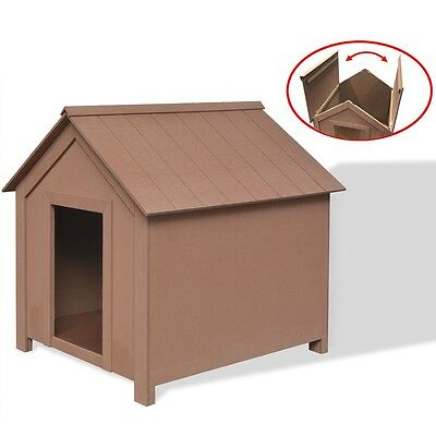 WPC Dog House Kennel Shelter Home Outdoor Weatherproof Durable 73.5x68x74 cm