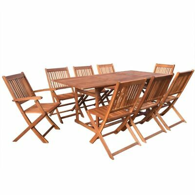 9 Piece Wooden Outdoor Garden Dining Set Table and Chairs Acacia Wood 180 cm