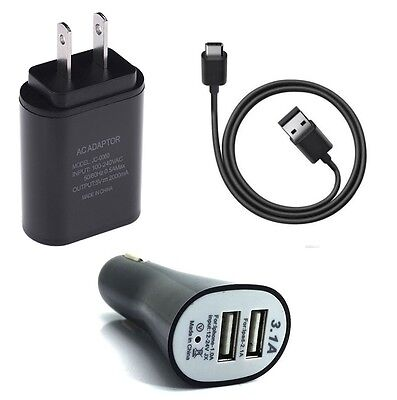 2A Wall+Dual Port Car Adapter+Type C Usb For Samsung Galaxy Tab S3 Tablet