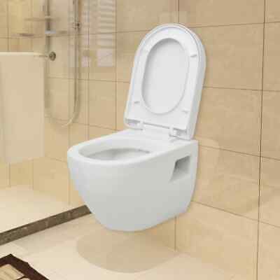 Wall Hung Mounted Toilet with Soft-close Seat Ceramic Plastic Bathroom WC White