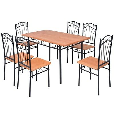 7 Piece Dining Table Chairs Set Steel Frame Home Kitchen Garden Patio Furniture