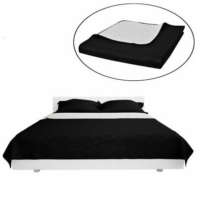 Double-sided Quilted Bedspread Comforter Microfibre Cotton Black/White Bedroom