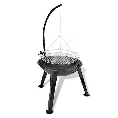 NEW BBQ Stand Charcoal Barbecue Round Hang Grill Steel 58 cm High-quality