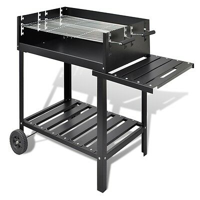 NEW BBQ Stand Charcoal Barbecue Grill Smoker 2 Wheels Steel High-quality