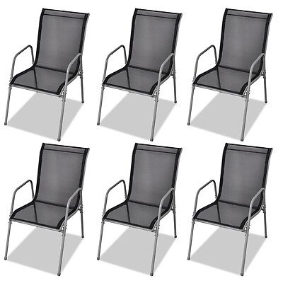 6 pcs Outdoor Dining Chairs Patio Garden Room Furniture Textilene Steel Black