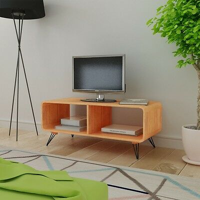TV Cabinet Stand Coffee Table Storage Steel Legs Living Room Furniture 90cm Wood