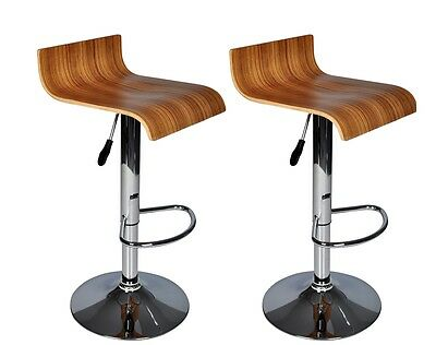 Set Of Two Bar Stools Wooden Kitchen Breakfast Barstools