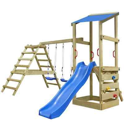 Wooden Playhouse Set with Ladders Slide Swings Kid Outdoor Garden Playground