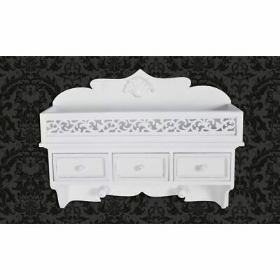New Wall Shelf With Drawers Hook Storage Rack Wall Mount Distressed White Finish