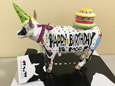 "COW PARADE HAPPY BIRTHDAY TO MOO Large Statue Figurine, Size 6"" x 5"" x 2"" NWT"