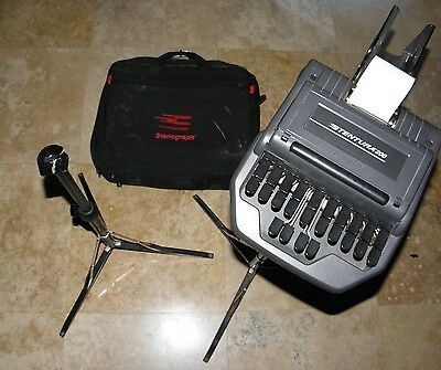 Stentura 200 with 2 stands, case, paper tray, paper, steno stenograph!