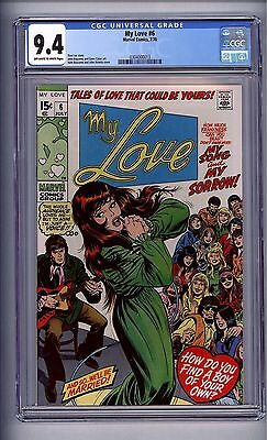 Cgc My Love #  6 Nm 9.4  Off-White-White Pages 1970  Nice!(@@)! Stan Lee Story