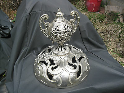 Antique Ornate The Wonder Cast Iron Parlor Stove Nickel Cap Crown Finial Parts