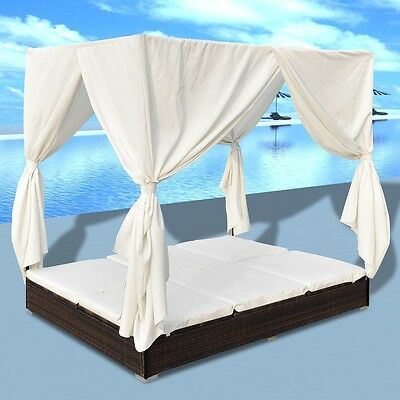 New Luxury Outdoor Brown Poly Rattan Sun Lounger 2 Persons with Curtain