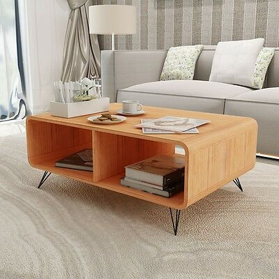 Coffee Table TV Cabinet Stand Storage Steel Legs Living Room Furniture 90cm Wood