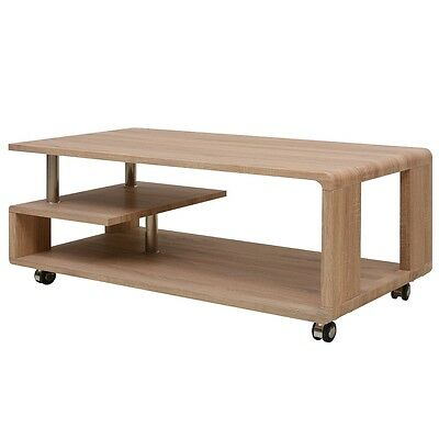Drinks Coffee Table End w/ 4 Castors 2 Brakes MDF Brown Living Room Home Decor