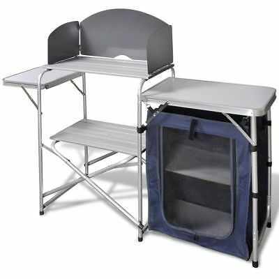 New Compact Foldable Camping Kitchen Unit Cook Table Storage Cupboard Windshield