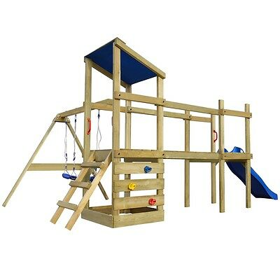 Wooden Playhouse Set with Ladder Slide Swings Kids Outdoor Garden Playground