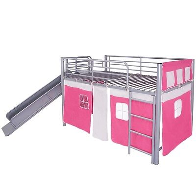 Kids Children Loft Bed with Slide Ladder Steel Pink 200x100 cm Bedroom Furniture
