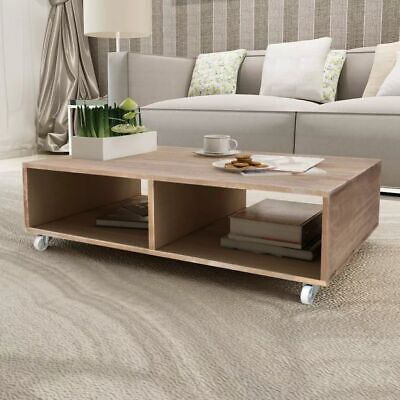 Coffee Table Living Room Side Table with Castor Large Compartments Solid Wood
