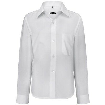 Boys Formal Shirt Plain Long Sleeved Shirt Party Wedding Classic Smart White