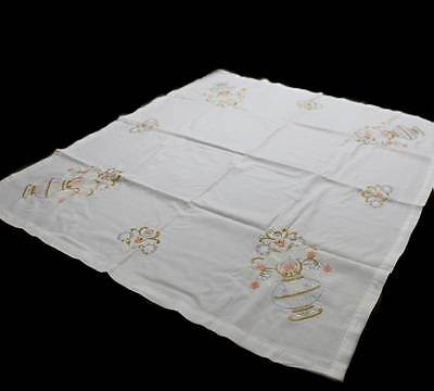 Vintage cotton beautiful gold & pastel embroidered white tablecloth supper cloth