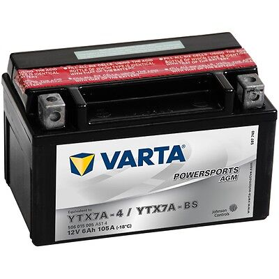 New Varta Sealed Motorcycle Battery Powersports AGM YTX7A-4 / YTX7A-BS Charged