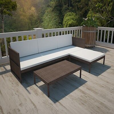 New Brown Outdoor Poly Rattan Three-Seater Lounge Set Powder-coated Steel Frame