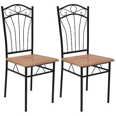 2 Dining Chairs Steel Frame Modern Home Kitchen Living Room Furniture Brown Seat