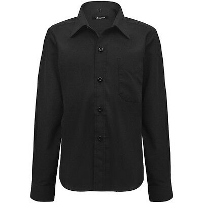 Boys Formal Shirt Plain Long Sleeved Shirt Party Wedding Classic Smart Black