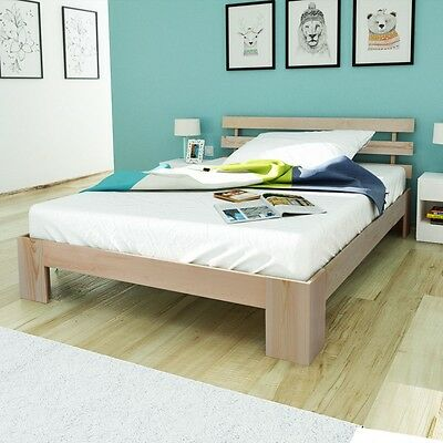 Natural Rustic Solid Chunky Pinewood Single Double Bed Frame 200x140cm Headboard