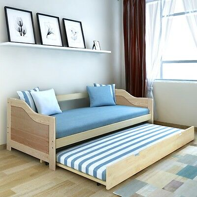 Pull Out Sofa Day Bed Frame Guest Visitor Sleepover Furniture Pinewood 200x90 cm
