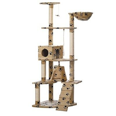 New Cat Tree Scratcher Post Cat Toy Bed Furniture Plush 191 cm Beige Pawprints