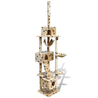 New Cat Tree Toy Scratching Post Cat Activity 3 Condos Beige with Pawprints