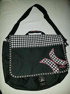 Hurley Black White w/Pink Accent Plaid Messenger Tote School Bag