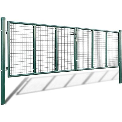 New Mesh Garden Gate 415 x 125 cm / 400 x 75 cm Galvanised Steel Powder-coated