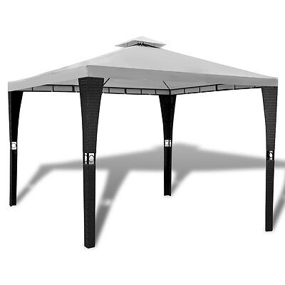 New Poly Rattan Gazebo with Cream White Roof 3 x 3 m Weather-resistant