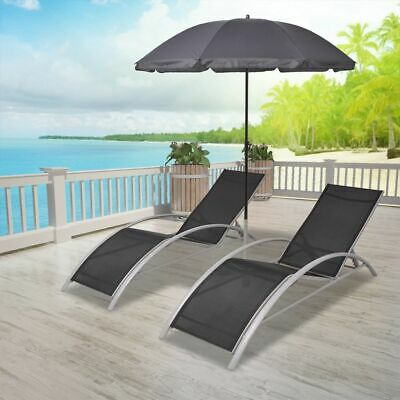 vidaXL Sun Lounger Set 3 pcs with Umbrella Aluminium Black Patio Bench Chairs