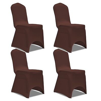 4 pcs Stretch Chair Seat Cover Protector Dining Room Party Wedding Banquet Brown