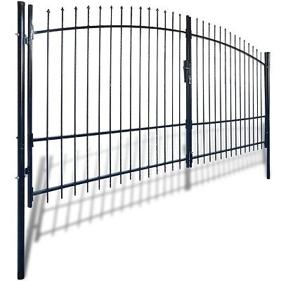 New Double Door Fence Gate with Spear Top 400 x 248 cm Steel Powder-coated